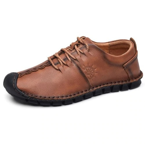 Wearable Flat Soft Men Lace-up Casual Leather Shoes