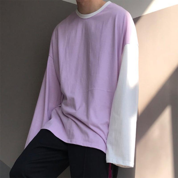 Men's Fashion Contrast Round Neck Long Sleeve T-Shirt