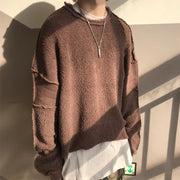 Men's Fashion Solid Color Panel Round Neck Long Sleeve T-Shirt