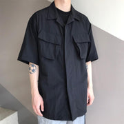 Men's Fashion Solid Color Loose Casual Short Sleeve Shirt