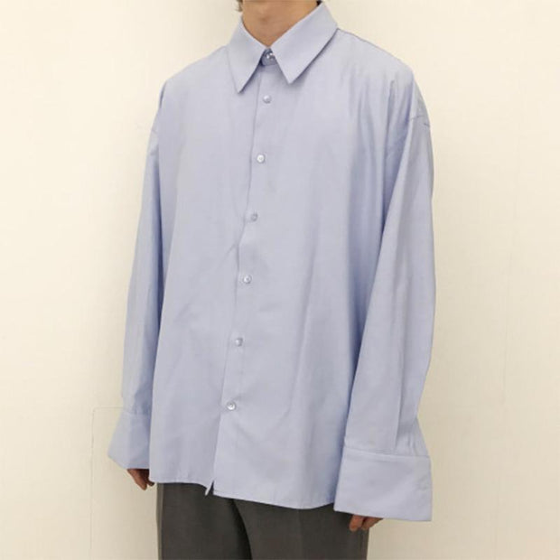 Men's Fashion Solid Color Loose Casual Shirt