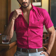 Men's Casual Fuchsia Short Sleeve Shirt