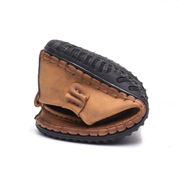 Men Hand Stitching Leather Non Slip Casual Driving Shoes