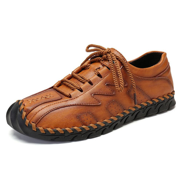 Men Classic Hand Stitching Non Slip Soft Lace Up Leather Shoes
