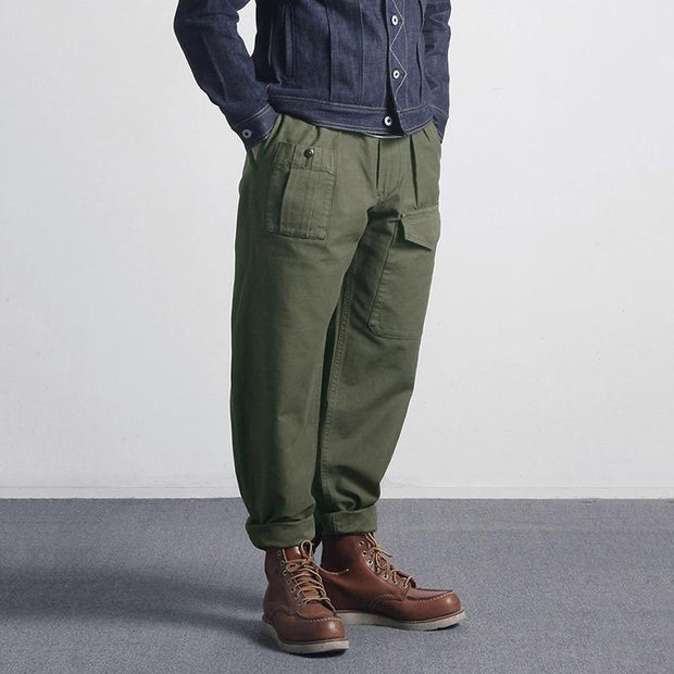 Fashion Army Green Men'S Mid-Waist Casual Pants
