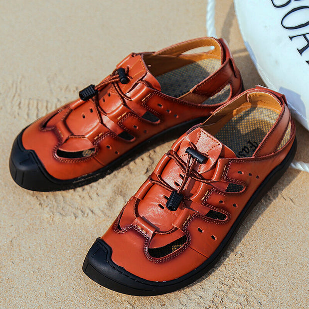 Men Cow Leather Non Slip Elastic Lace Soft Sole Outdoor Casual Sandals