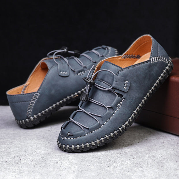 Men Hand Stitching Leather Non Slip Elastic Lace Comfy Shoes