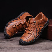 Men Hand Stitching Non Slip Comfy Casual Leather Shoes