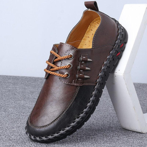 Men Hand Stitching Leather Splicing Non Slip Metal Casual Shoes