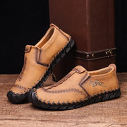 Men Hand Stitching Microfiber Leather Slip On Casual Loafers