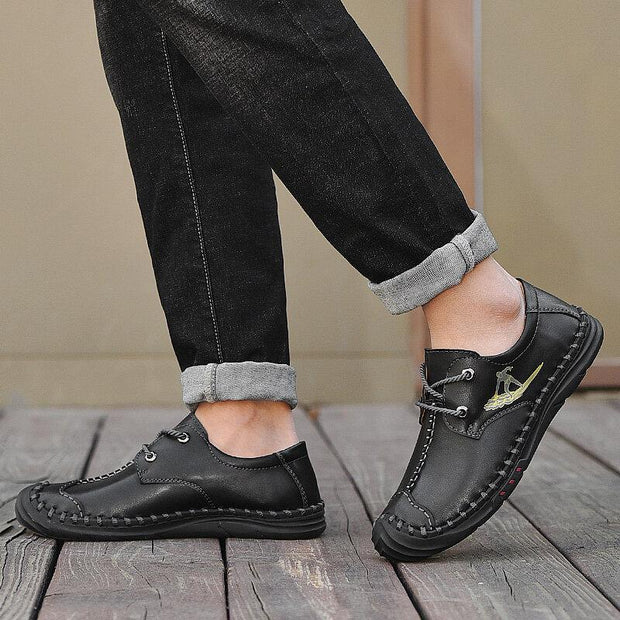 Men Outdoor Slip Resistant Toe Protective Soft Leather Casual Shoes
