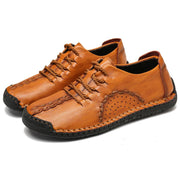 Men Hand Stitching Leather Non Slip Soft Sole Comfy Shoes
