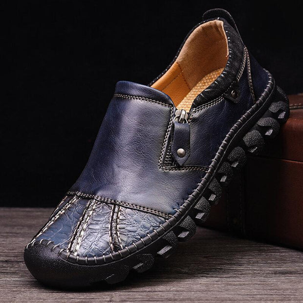 Men Retro Hand Stitching Leather Non slip Side Zipper Casual Shoes