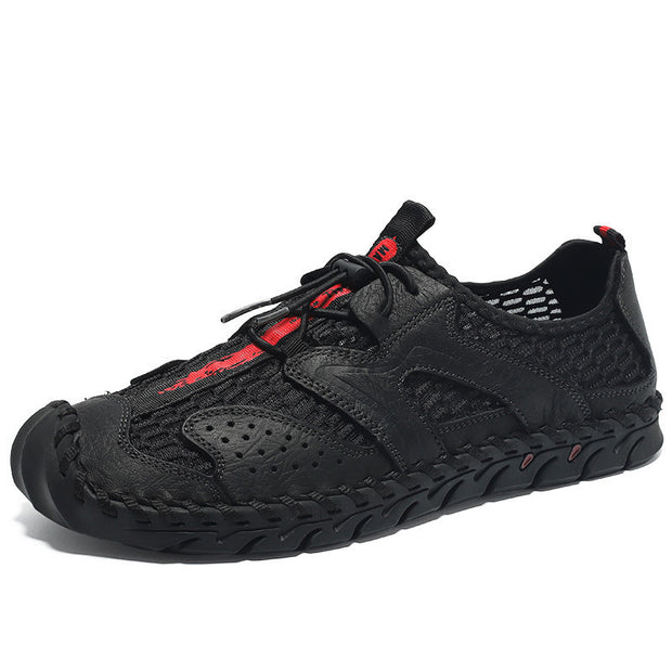 Men's  cowhide large size breathable mesh shoes hiking climbing shoes
