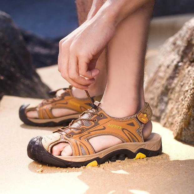 Men's leather sandals breathable beach shoes large size  non-slip  sandals