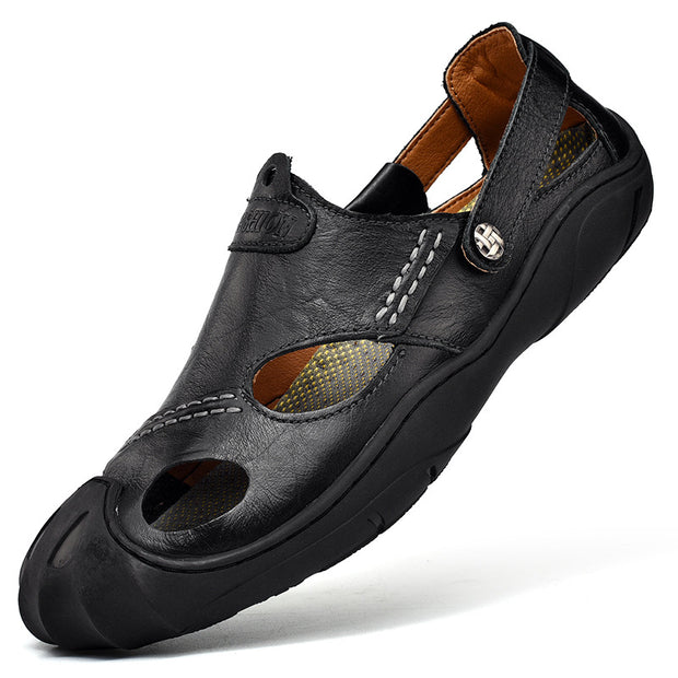 Men's leather non-slip hole breathable outdoor leisure beach shoes