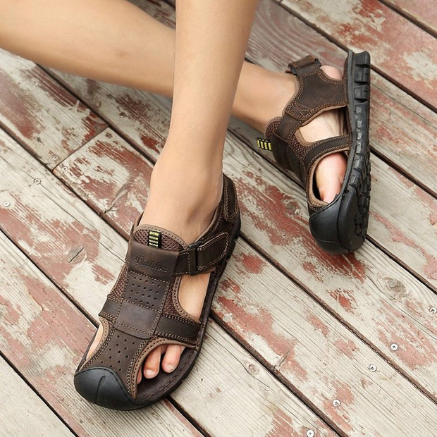 Men's  breathable leather sandals comfortable casual  sandals