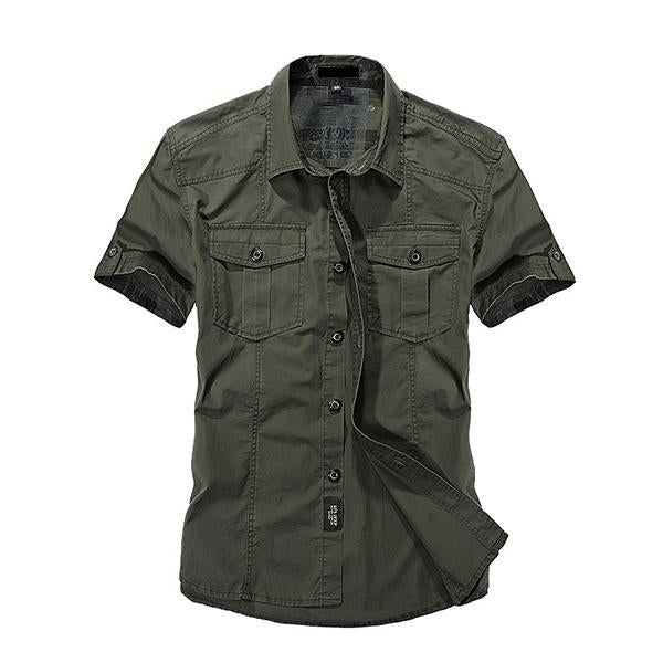 Men's Outdoor Breathable Cotton Short Sleeve Shirts