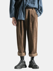 Men's Winter Corduroy Loose Overalls Multi Pockets Straight Solid Color Casual Pants