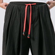 Mens Solid Color Baggy Loose Drawstring Casual Cotton Harem Pants