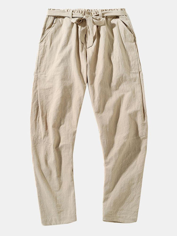 Mens Chinese Style Casual Fashion Simple Wild Plain Drawstring Straight Trousers