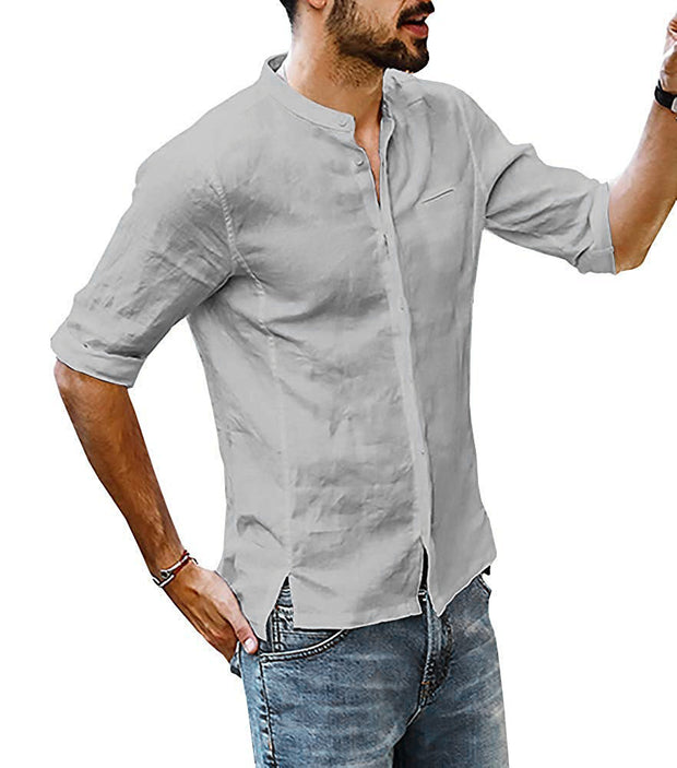 Man's stand-up collar linen shirt sleeve men's t-shirt