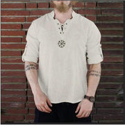 Men's cotton fashion embroidered collar long-sleeved shirt male long-sleeved T-shirt