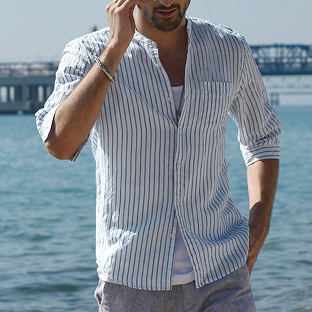 Men's casual striped shirt male mixed colors cardigan