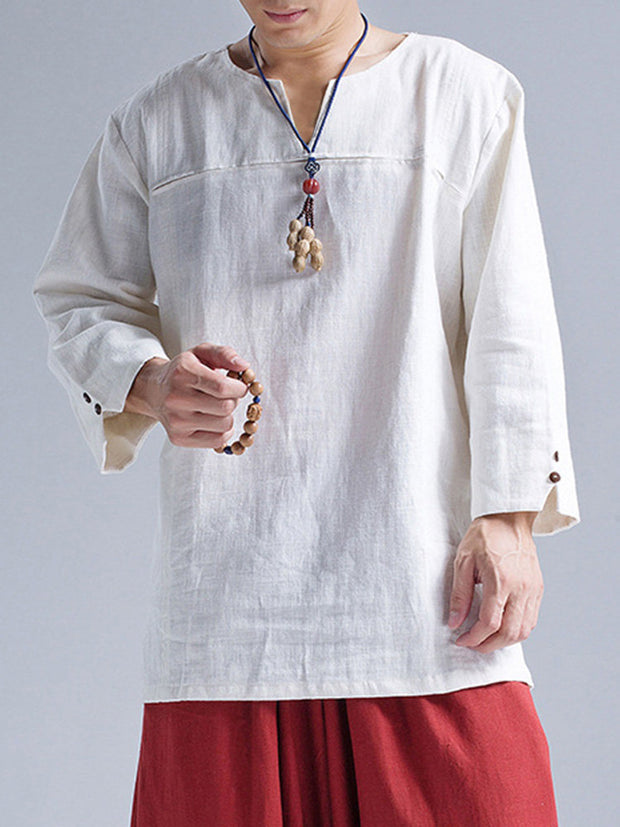 Mens Casual Chinese Style 100% Cotton Solid Color Long Sleeve T-Shirt