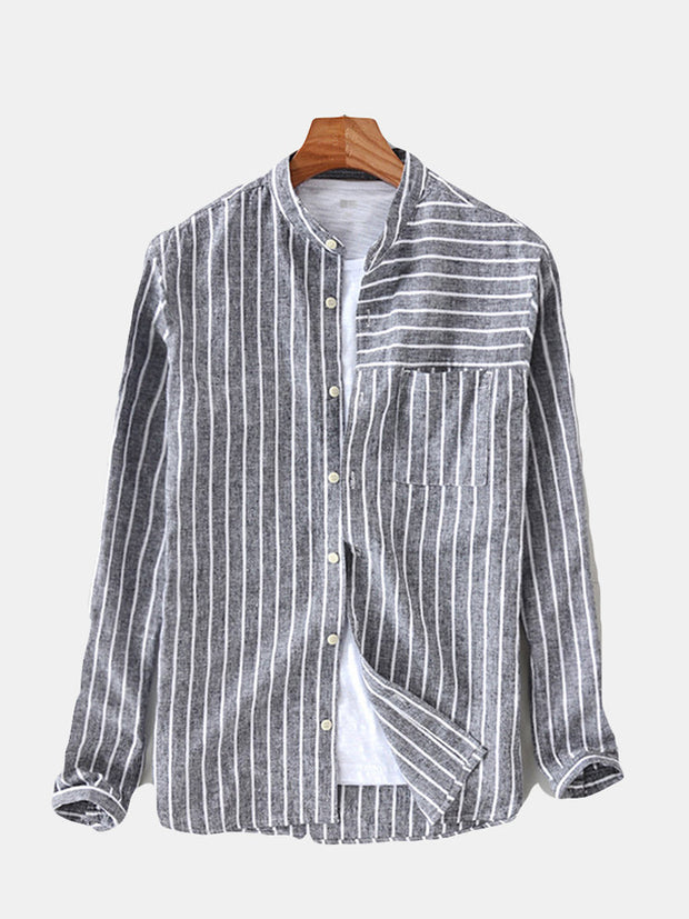 Mens Cotton Striped Vintage Breathable Loose Fit Long Sleeve Fashion Casual Shirt