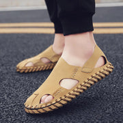 Men Microfiber Leather Hand Stitching Non Slip Casual Sandals