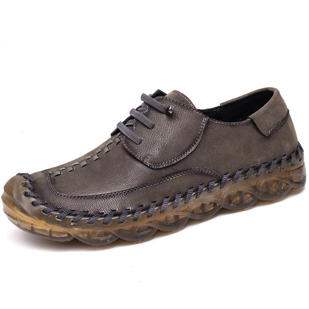 Men's  Hand Stitching Leather Non Slip Soft Sole Comfy Flats