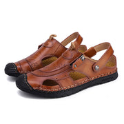Men's Hand Stitching Toe Protective Soft Sole Beach Casual Leather Sandals