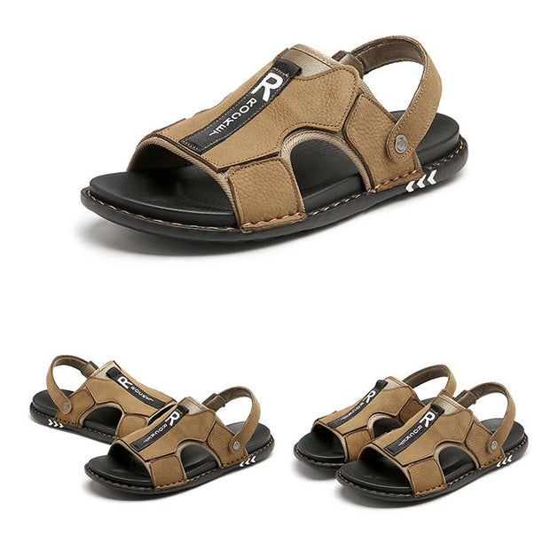 Men's Cow Leather Splicing Comfy Adjustabler Heel Strap Casual Sandals
