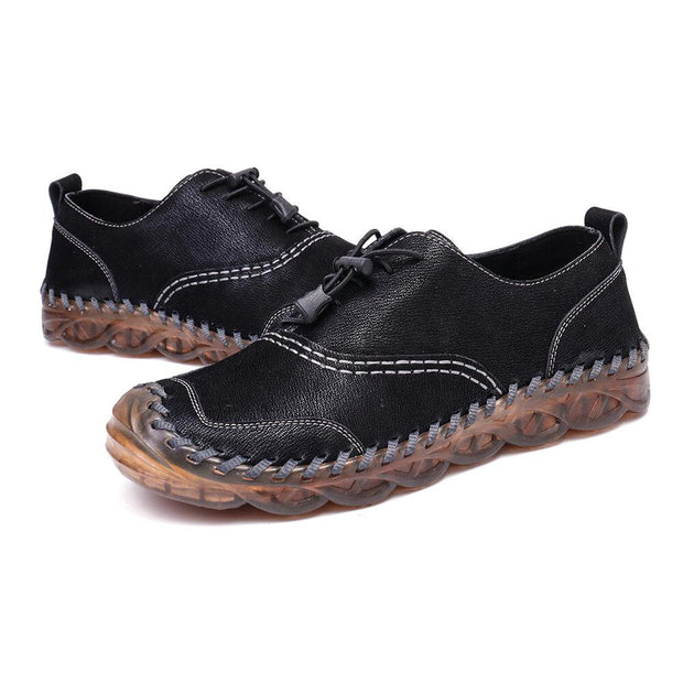 Men's Hand Stitching Anti-collision Lace Up Casual Microfiber Leather Shoes