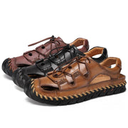 Men's Hand Stitching Leather Non Slip Elastic Lace Casual Outdoor Sandals
