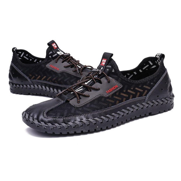Men's  Mesh Splicing Breathable Soft Hand Stitching Lace Up Water Shoes