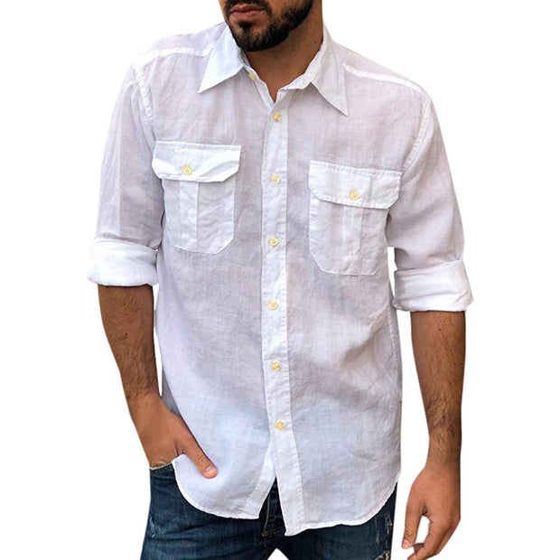 Men's Lapel Plain Casual Single-Breasted Slim Shirt