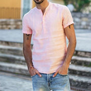 Men's Button Casual Plain Loose Short Sleeve T-shirt