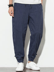 Mens Casual Striped Knot Decorate Drawstring Waist Ankle Banded Pants