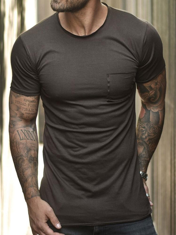 Men's Round Neck Plain Slim Short Sleeve T-shirt