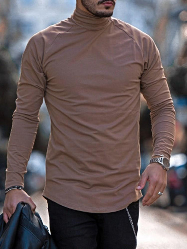 Men's Casual Plain Long Sleeve Slim T-shirt
