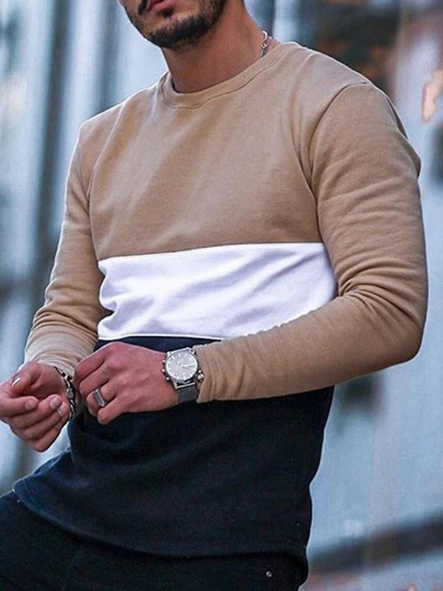 Men's Casual Round Neck Color Block Slim Long Sleeve T-shirt