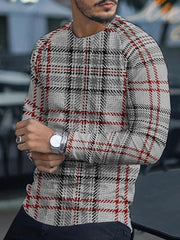 Men's Casual Plaid Round Neck Long Sleeve Slim T-shirt