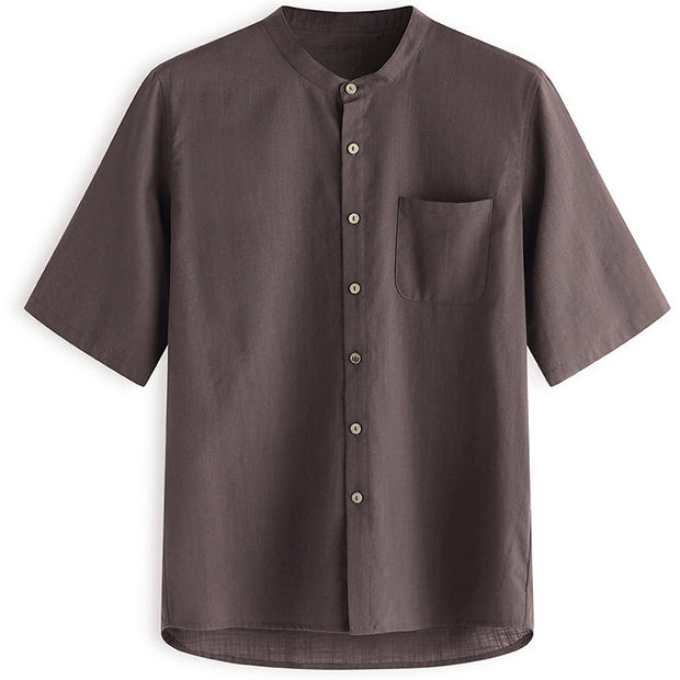 Mens Cotton Solid Chinese Buttons Closure Short Sleeve Shirts