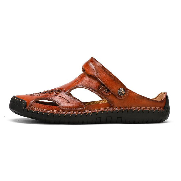 Men's casual breathable handmade leather sandals