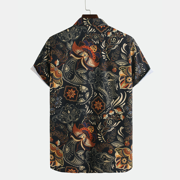 Mens Ethnic Style Flower Printed Casual Breathable Short Sleeve Shirts