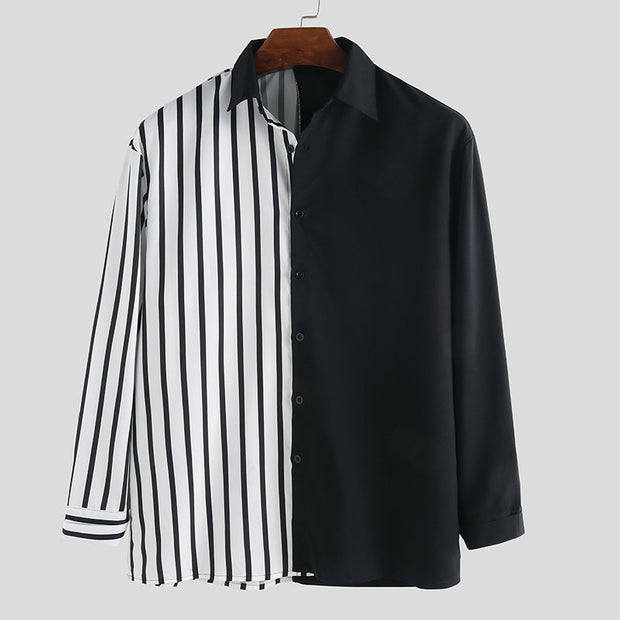 Men's Stripe Hit Color Patchwork Stylelish Casual Long Sleeve Shirts