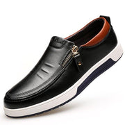 Men's Stylish Side Zipper Comfy Soft Sole Slip On Casual Leather Loafers