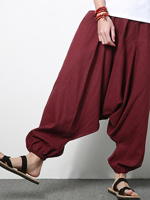 Men's Cotton Linen Solid Casual Wide Legs Harem Pants